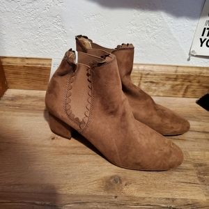 NWT H&M Faux Suede Brown Ankle Booties